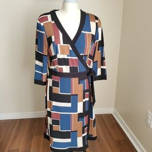 Chapter One Colorblock Abstract Wrap Dress Size L